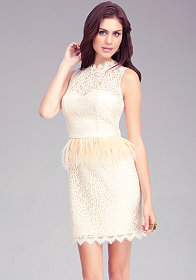 Feather Waist Keyhole Dress at bebe