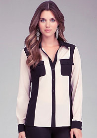 bebe Colorblock Button Up Blouse