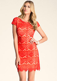bebe Open Back Lace Dress