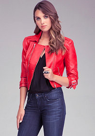 Leatherette Moto Jacket at bebe