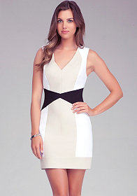 bebe Colorblock Fitted Dress