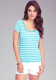 bebe Logo Stripe Surplice Tee