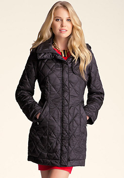 bebe Hooded Diamond Quilt Coat