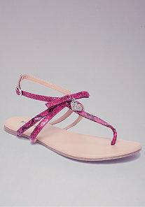 Heart Charm Flat Sandals at bebe