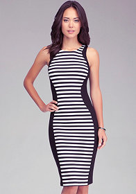 Stripe Block Midi Dress at bebe