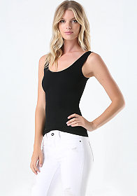 Low Neck Rib Tank at bebe