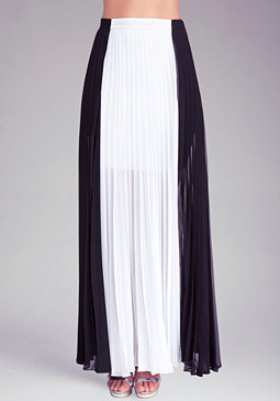 Pleated Colorblock Maxi Skirt at bebe
