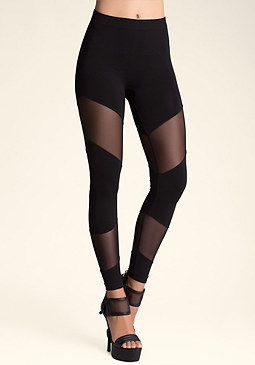bebe Diagonal Mesh Leggings