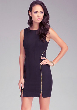 bebe Extreme Zipper Mini Dress