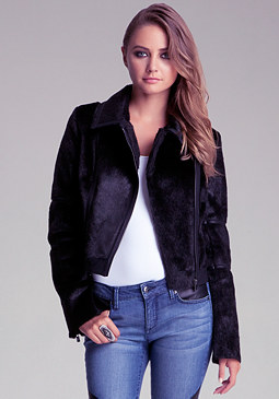 bebe Contrast Trim Faux Jacket