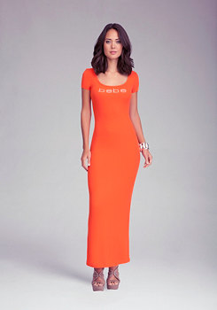 bebe Logo Keyhole Maxi Dress
