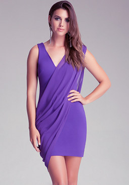 bebe Contrast Drape Overlay Dress