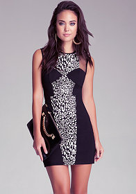 bebe Jacquard Shoulder Inset Dress