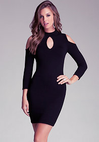 bebe Cold Shoulder Keyhole Dress