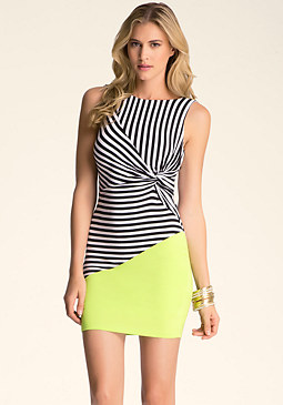 Stripe Block Knotted Dress at bebe