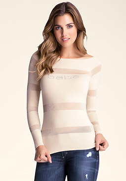 bebe Sheer Stripe Sweater Top