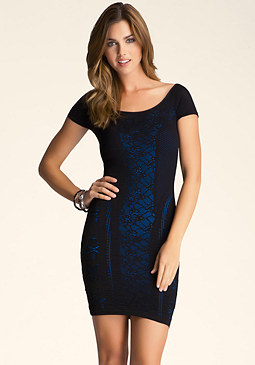 bebe Mesh Double Layer Dress