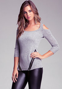 Cold Shoulder Zipper Top at bebe