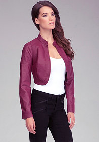 bebe Cropped Leatherette Jacket