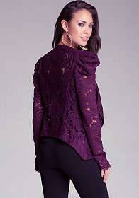 bebe Lace Cowl Waterfall Jacket