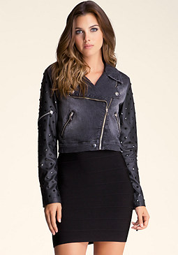 bebe Studded Sleeve Moto Jacket