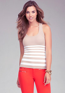 Stripe Sweater Tank at bebe