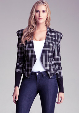 bebe Plaid Shoulder Detail Jacket
