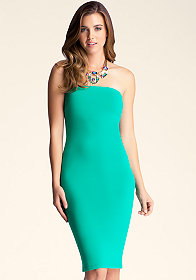 Strapless Solid Midi Dress at bebe