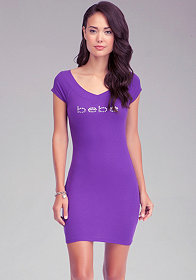 Logo V Neck Mini Dress at bebe