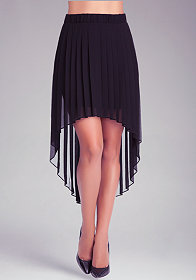 bebe Pleated High Low Skirt