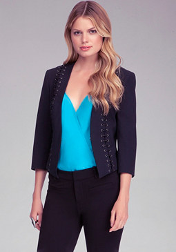 Petite Laced Up Blazer at bebe