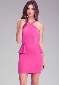 bebe Cross Front Peplum Dress