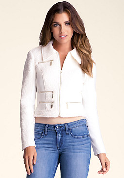 bebe Ribbed Wool Ponte Jacket