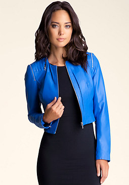 bebe Quilted Zipper Leather Jacket