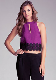 bebe Lace Button Halter Top