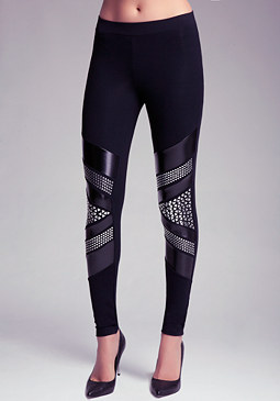 bebe Embellished Liquid Leggings