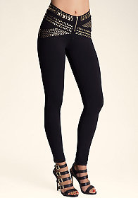 bebe Heavy Metal Belted Leggings