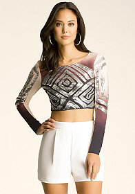 bebe Crop Embellished Top