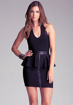 bebe Plunging Front Peplum Dress
