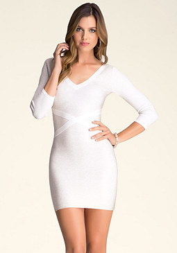 bebe Sparkle Liquid V Neck Dress