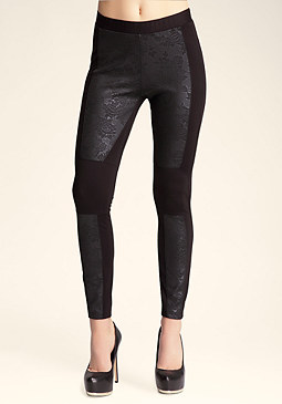 bebe Rose Embossed Moto Legging