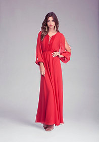 bebe Open Shoulder Maxi Dress