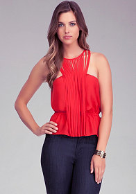 bebe Tassel Neck Top