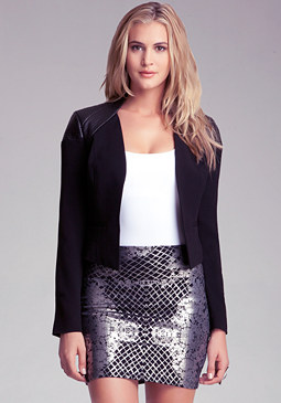 Leather Contrast Blazer at bebe