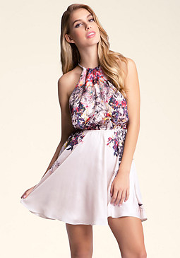 bebe Multi Keyhole Printed Dress