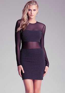 bebe Long Sleeve Studded Dress