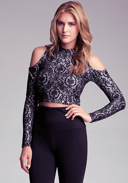 bebe Cold Shoulder Crop Top