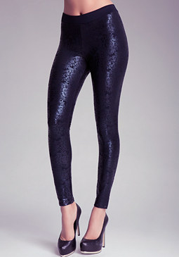 bebe Fantasy Lace Foiled Leggings