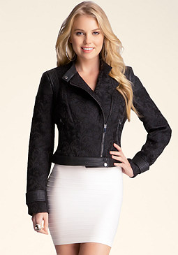bebe Baroque Panel Moto Jacket