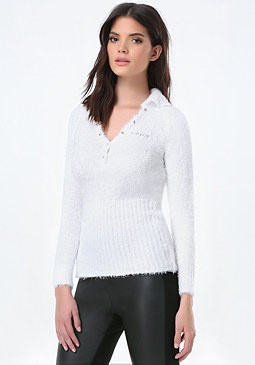 bebe 3/4 Sleeve Polo Sweater